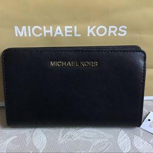 NWT Michael Kors Slim Black Leather bifold wallet